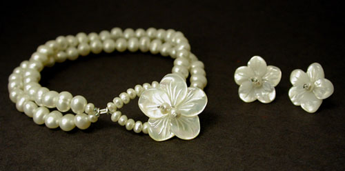 Shop for Bridal Jewelry at The Blue Between - Handcrafted Jewelry and Bead Art :  handmade jewelry flower pearls bridal