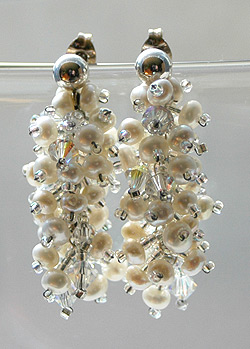 Shop for Earrings at The Blue Between - Handcrafted Gemstone Beaded Earrings, Silver Earrings, Lampwork Earrings. :  pearls bridal hadnmade jewelry swarovski crystals